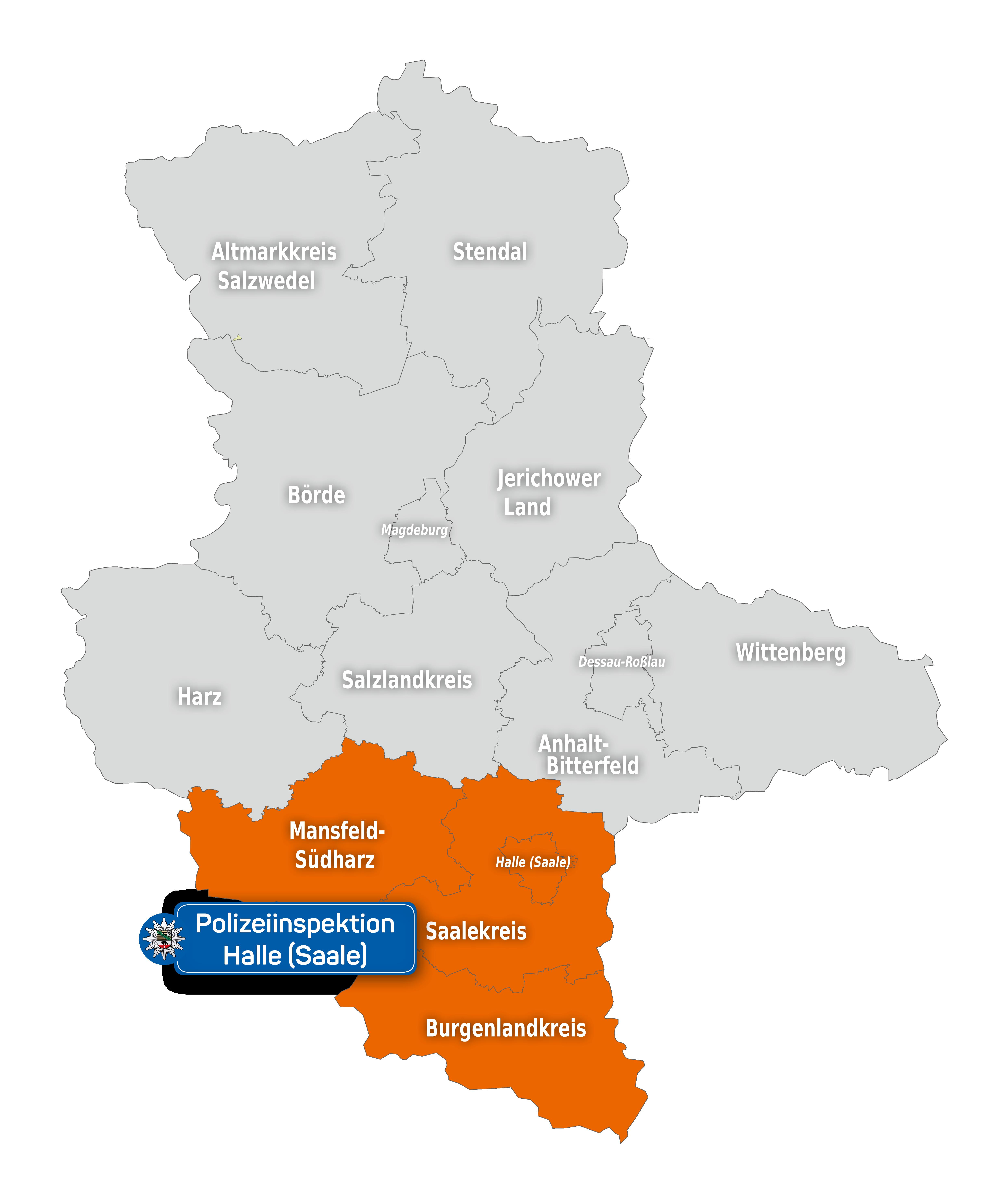 Zuständig für die Stadt Halle (Saale) sowie den Saalekreis, Burgenlandkreis und den Landkreis Mansfeld-Südharz